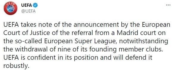 欧足联官方回应被欧超起诉:会坚定捍卫自身立场