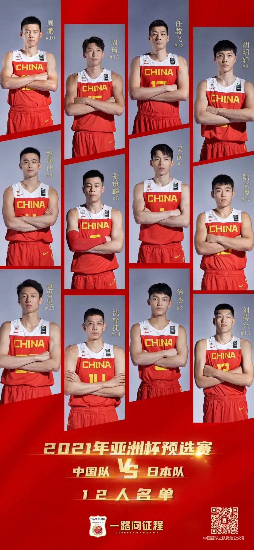 亚预赛中国男篮再战日本大名单公布 周琦回归