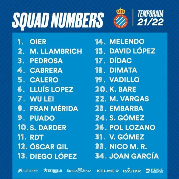 西班牙人一线队新赛季号码:武磊7号 德托马斯11号