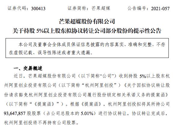 阿里创投拟转让芒果超媒5.01%股份 完成后将不再持有股票
