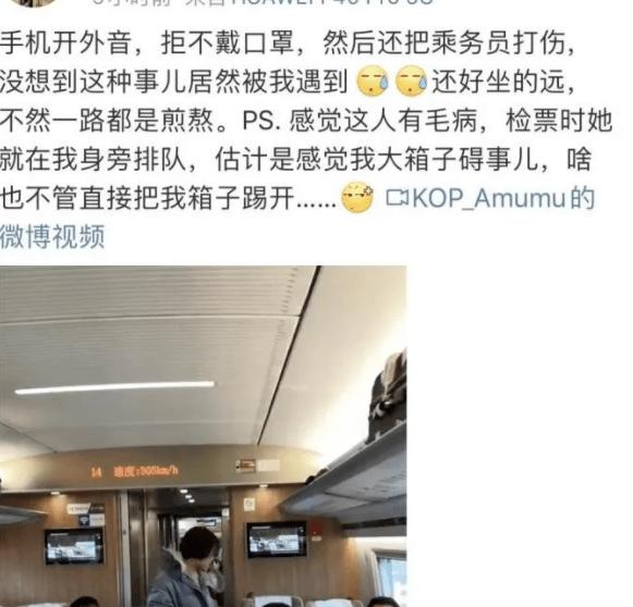 女人高铁上不佩戴口罩破口大骂三小时,还打哭高铁乘务员!缘故竟