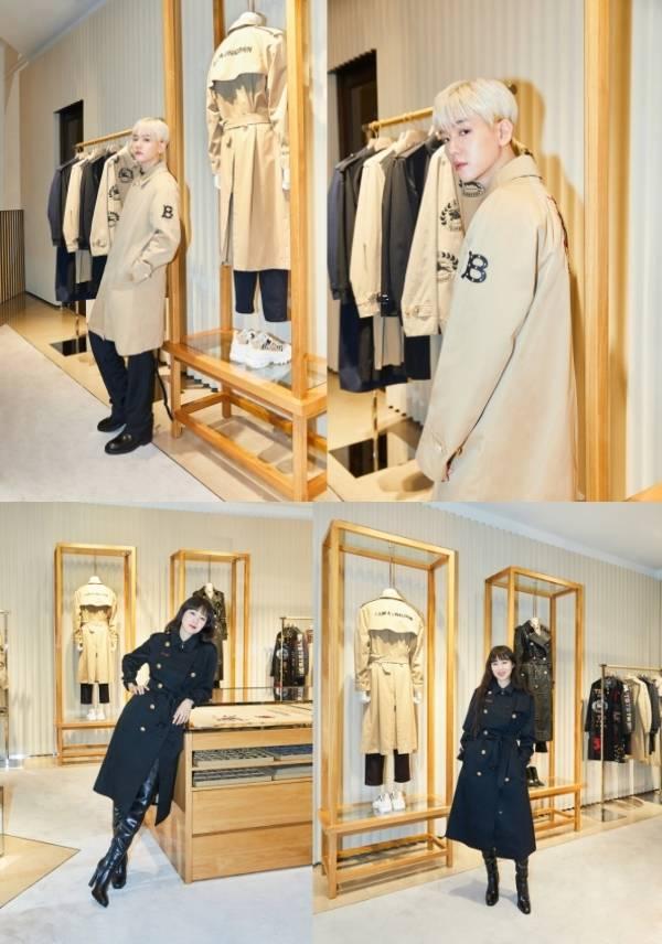 EXO·博贤参观了巴宝莉在首尔的旗舰店...完美的外观吸引眼球