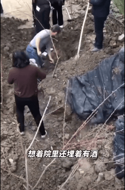 男子挖10年前埋地下的酒准备过年 挖掘过程曝光网友不淡定了【图】