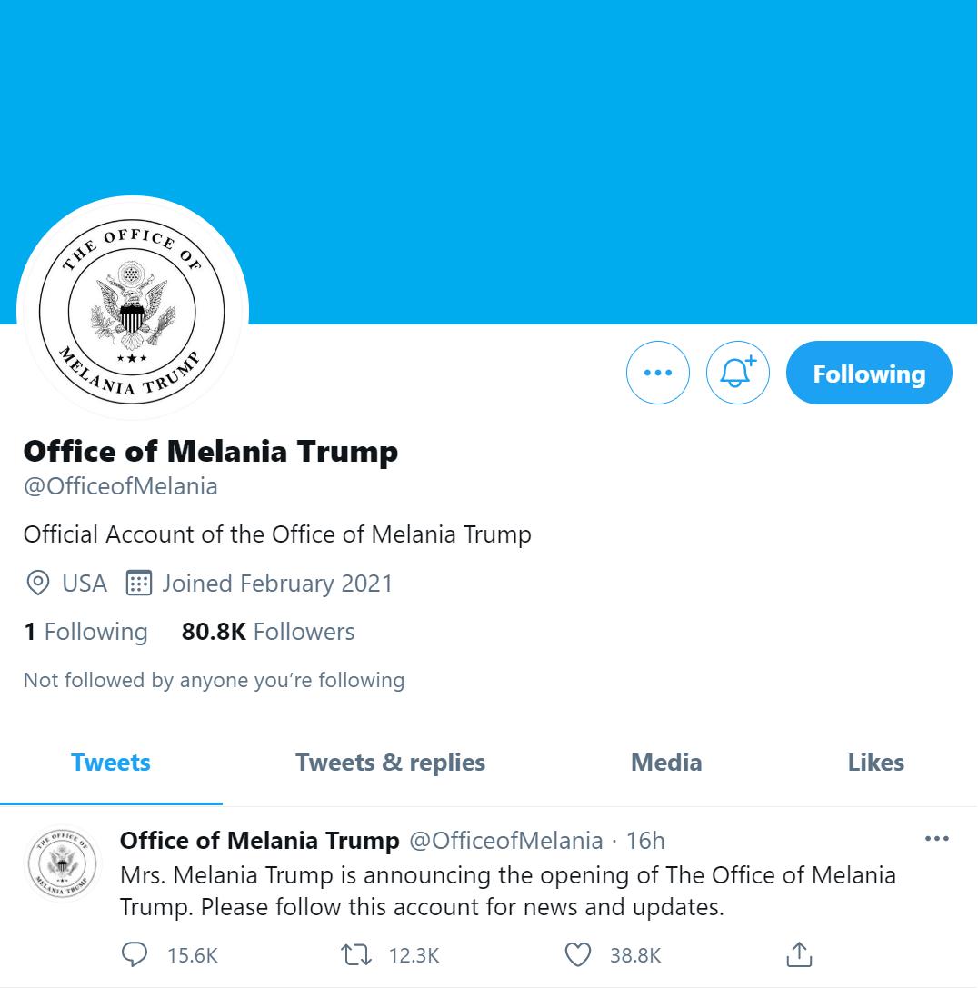 """外媒:美国前第一夫人宣布办公室正式""""开张"""""""