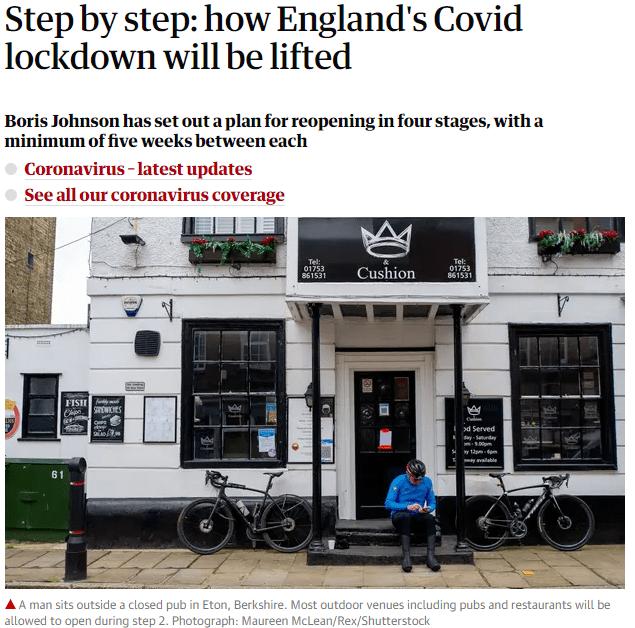 """最新!鲍里斯宣布英国""""四步走""""解封,单日死亡再降!"""