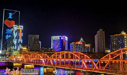 兰州黄河之滨夜色美