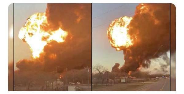 美国得州一装有燃油及化学物品火车与货车碰撞,目前伤亡不明
