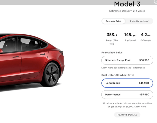 特斯拉美国官网显示,Model3预计交付时间缩短至2-4周
