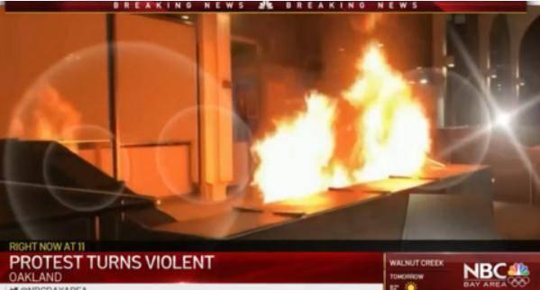 美国加州发生骚乱:现场多处起火 数辆汽车被毁