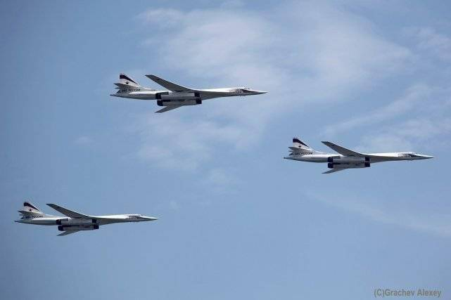 Tu-160M flying in formation