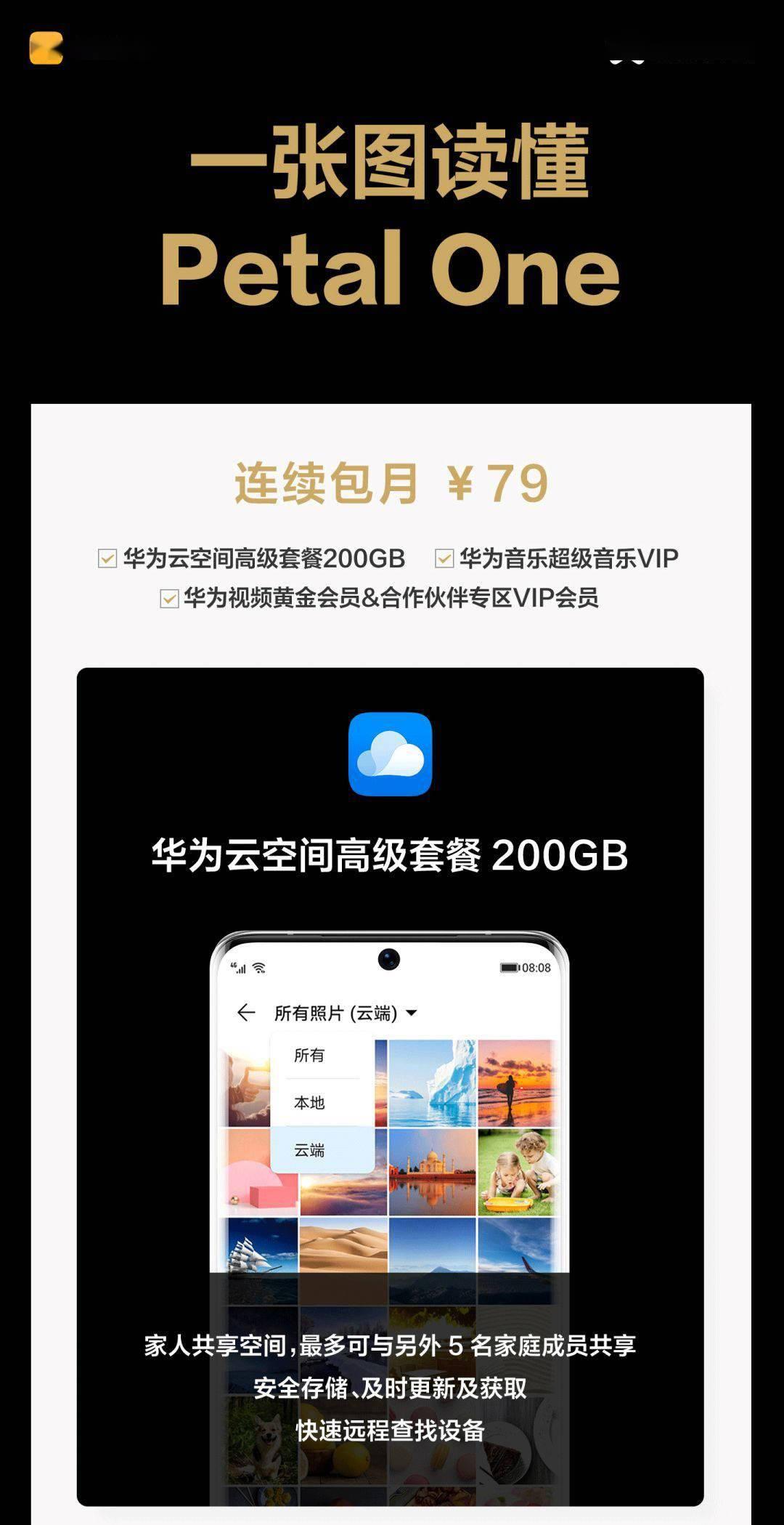 华为推出Petal One超值会员:200GB云空间、视频/音乐VIP_服务