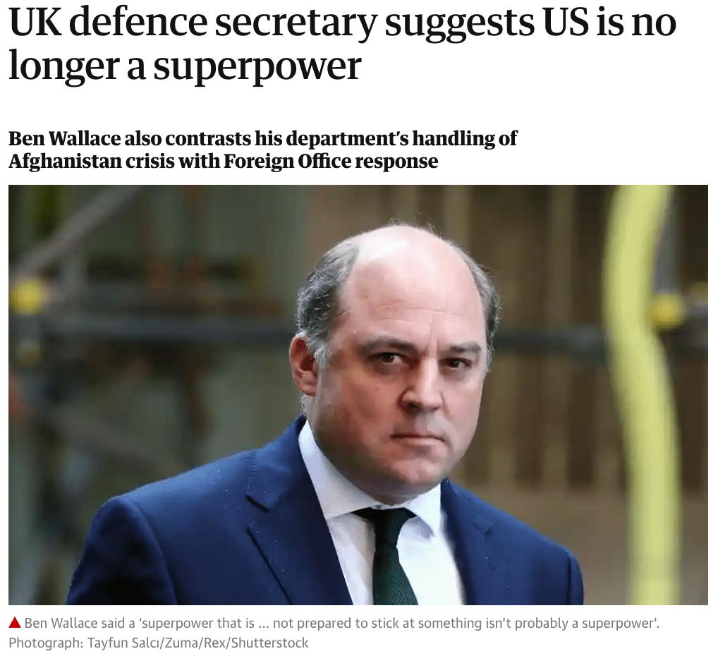 """英国防大臣暗示,""""美国不再是超级大国"""""""